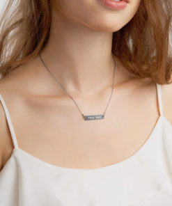YOUR TEXT on this Engraved Silver Bar Chain Necklace Jewelry