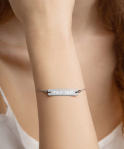 YOUR TEXT on this Engraved Silver Bar Chain Bracelet Jewelry