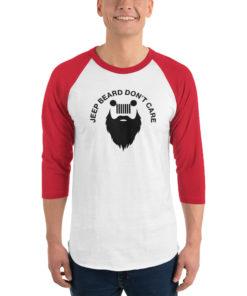 Jeep Beard Don't Care 3/4 sleeve raglan shirt 3/4 Sleeve T-Shirts Beard