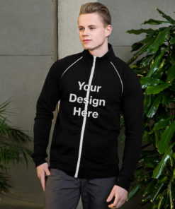 YOUR Design on this Piped Fleece Jacket For Mens
