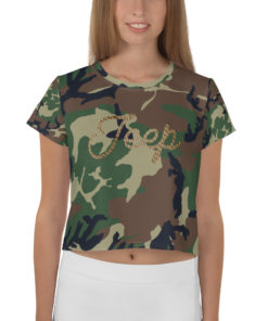 Jeep Rope Logo Military Star Camouflage Crop Tee Crop Tee Army Star