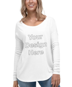 YOUR Design on this Women's Flowy Long Sleeve Shirt | Bella + Canvas 8852 For Womens