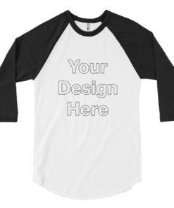 YOUR Design on this Men's 3/4 Sleeve Raglan Shirt | American Apparel BB453 For Mens