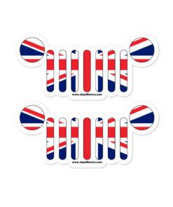 Jeep Grill United Kingdom Flag Bubble-free stickers (X2) Stickers United Kingdom