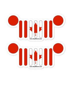 Jeep Grill Canada Flag Bubble-free stickers (X2) Stickers Canada