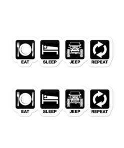 Eat Sleep Jeep Repeat Bubble-free stickers (X2) Stickers Eat Sleep