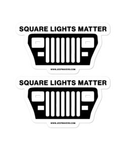Jeep Square Lights Matter YJ Bubble-free stickers (X2) Stickers Square Lights
