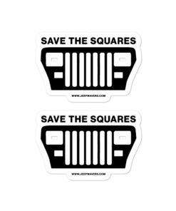 Jeep Save The Squares YJ Bubble-free stickers (X2) Stickers Square Lights