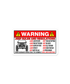Jeep Rules And Regulations Bubble-free stickers Stickers Other