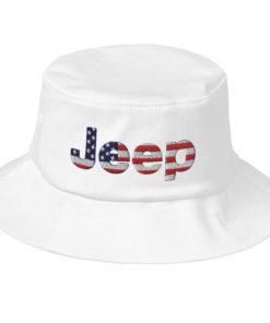 Jeep Flag USA Logo Old School Bucket Hat Buckets USA