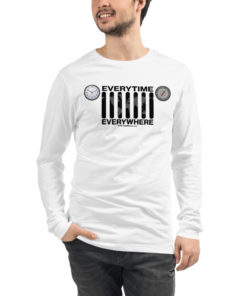 Everytime, Everywhere Jeep Grill Unisex Long Sleeve Tee Long Sleeve T-Shirt Daily Jeep