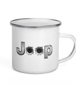 Jeep Bullet Holes Silver Logo 2 Enamel Mug Mugs Bullets