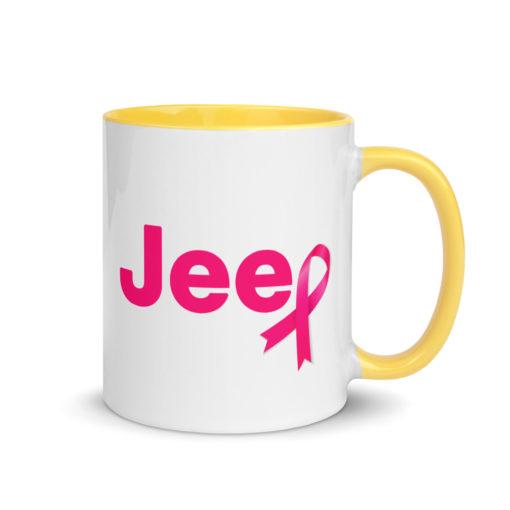 Jeep Breast Cancer Pink Logo 2 Mug with Color Inside Mugs Breast Cancer