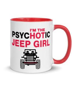 PsycHOTic Jeep Girl Mug with Color Inside Mugs Hot Girl