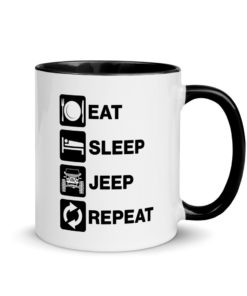 Eat, Sleep, Jeep… Repeat! Mug with Color Inside Mugs Eat Sleep