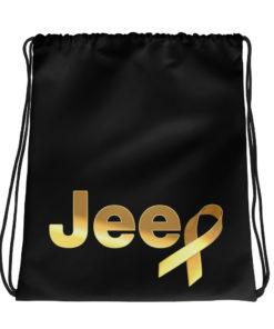 Jeep Childhood Cancer Ribbon Logo Drawstring bag