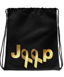 Jeep Childhood Cancer 2 Ribbons Logo Drawstring bag