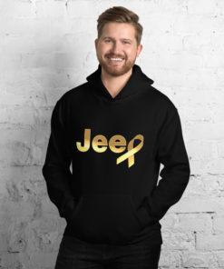 Jeep Childhood Cancer Ribbon Logo Unisex Hoodie