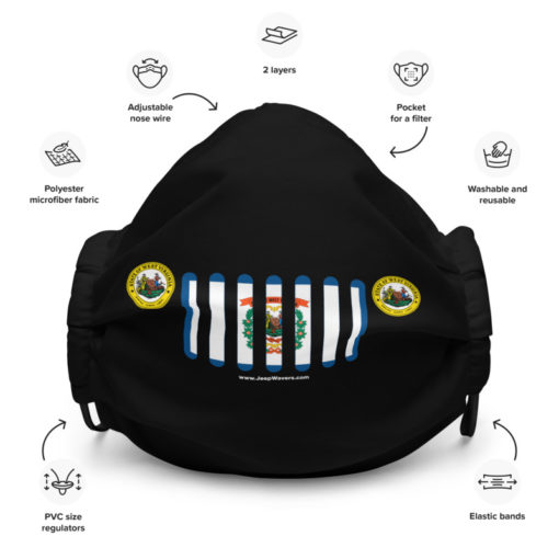 Jeep West Virginia Flag Seal Grill Black Face Mask