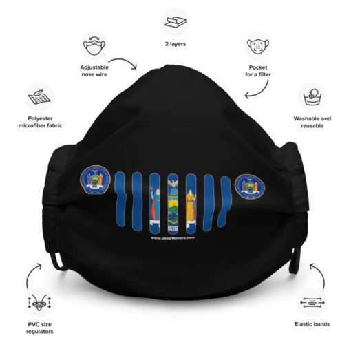 Jeep New York Flag Seal Black Face Mask
