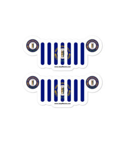Jeep Kentucky Flag & Seal Grill Bubble-free Stickers (X2) Stickers Kentucky