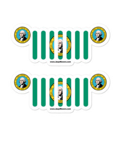 Jeep Washington Flag & Seal Grill Bubble-free Stickers (X2) Stickers Washington