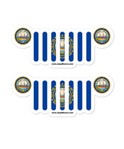 Jeep New Hampshire Flag & Seal Grill Bubble-free Stickers (X2) Stickers New Hampshire