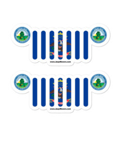 Jeep North Dakota Flag & Seal Grill Bubble-free Stickers (X2) Stickers North Dakota