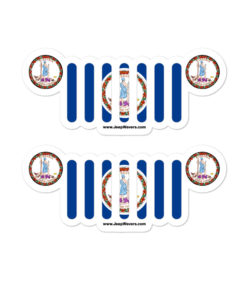 Jeep Virginia Flag & Seal Grill Bubble-free Stickers (X2) Stickers Virginia