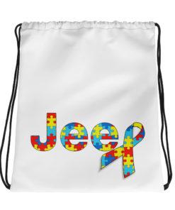 Autism Awareness Jeep Logo Drawstring bag Drawstring Autism Awareness