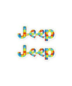 Autism Awareness Jeep Logo Bubble-free stickers (X2) Stickers Autism Awareness