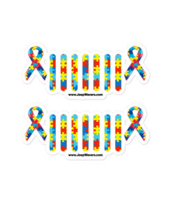 Autism Awareness Jeep Grille Bubble-free stickers (X2) Stickers Autism Awareness