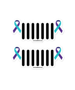 Jeep Suicide Prevention Awareness Ribbon Grill Logo Bubble-free stickers Stickers Suicide Prevention Awareness