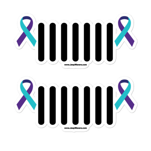 Jeep Suicide Prevention Awareness Ribbon Grill Logo Bubble-free stickers (X2) Stickers Suicide Prevention Awareness